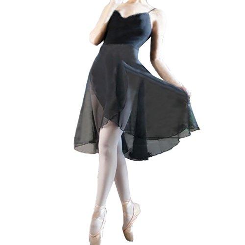 GOGO TEAM Adult Sheer Wrap Skirt Ballet Skirt Ballet Dance Dancewear-Black-M