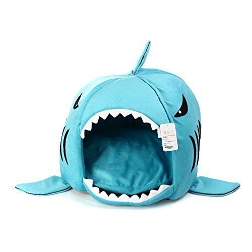 KOJIMA Shark Round House Puppy Bed with Pet Bed Mat, Small to Medium (Blue, Small)