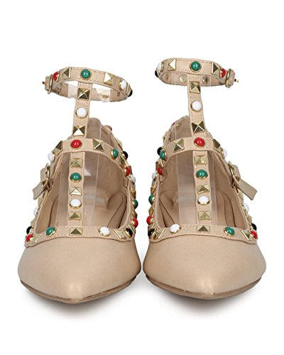 Fashion Diva Caged Wild Flat by Ankle Collection and Strap Alrisco Studded Natural Women Flat Trendy Casual Dressy Flat Leatherette Beaded HD69 CqwT5xPa