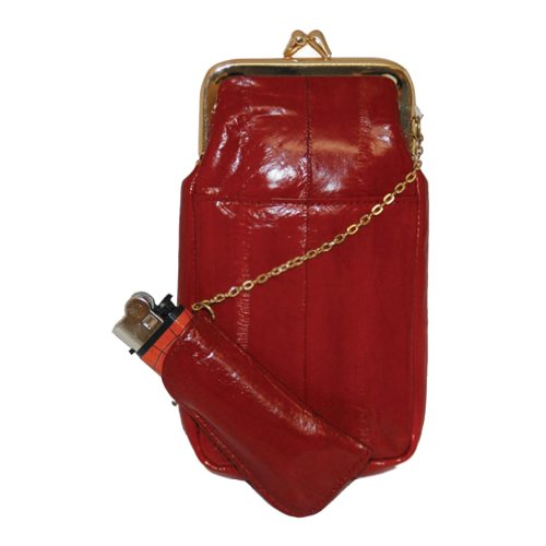 Womens Eel Skin Cigarette Lighter Holder Red ()