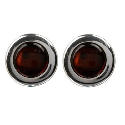Sterling Silver Red Dark Amber Round Large Clip-on (Sweet Dark Sherry)