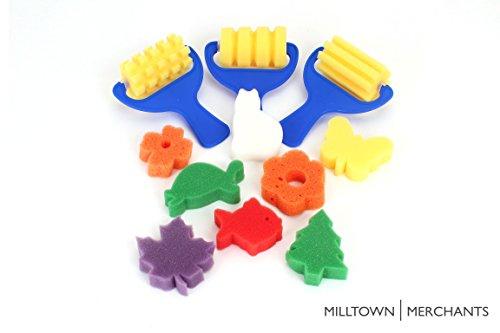 Roller Assortment - Sponge Painting Variety Pack - (3) Textured Sponge Painting Rollers - (8) Sponge Painting Shapes - Crafts for Kids - Art Sponge Assortment