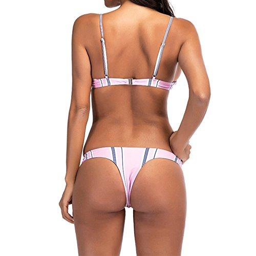 Women\'s Bikini Swim Suit Two Piece Sexy Pleated Triangle Swimsuit Bikini Sets Beachwear Top Bottom (Stripe, US 4-6. Cup Size: C-D)