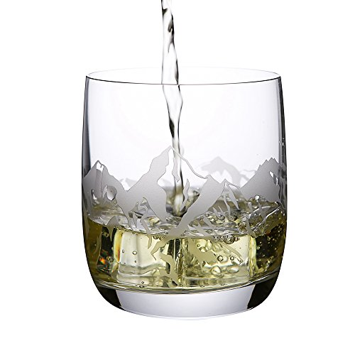 Crystal Whiskey Glass With Engraved Sea World Designs Set Of 2pcs With 2 Red Coasters FLY ANGLE