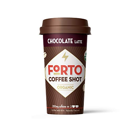 FORTO Coffee Shots - 200mg Caffeine, Chocolate Latte, Ready-to-Drink on the go, High Energy Cold Brew Coffee - Fast Coffee Energy Boost, 6 Pack