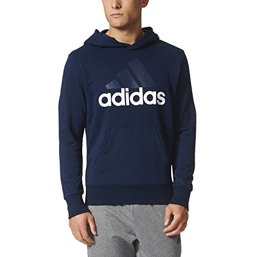adidas Men's Essential Linear Logo Pullover Hoodie, Collegiate Navy/White, Large