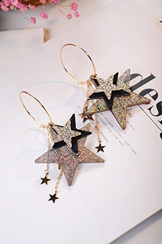 Generic Reds_ fashion _street_shoot_exaggerated_multi-tier_5_Point_Star_crystal_flow_so_ large earrings Earring eardrop _full_drill_Flash_5_star_ earrings women girls
