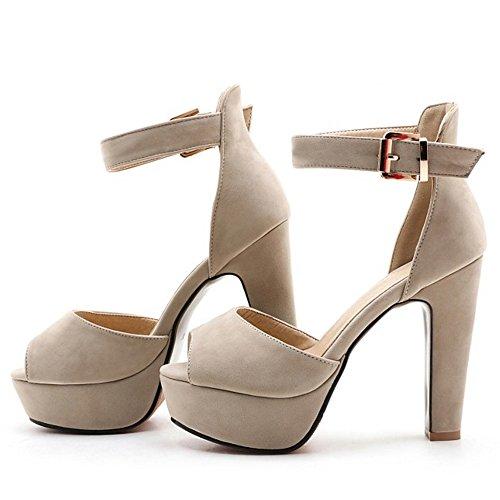 TAOFFEN Mujer Peep Toe Sandalias De Fiesta Moda Tacon Ancho Plataforma Tacon Alto Al Tobillo Zapatos Albaricoque