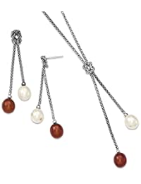 IceCarats 925 Sterling Silver Freshwater Cultured Pearl Knot 18 In. Neck Post Stud Earrings Set Drop Dangle Necklace