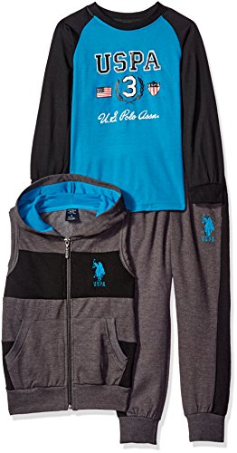 U.S. Polo Assn. Boys' Wide Stripe Hooded Fleece Vest and Jog Pant with Long Raglan Sleeve T-Shirt, Turquoise, 8