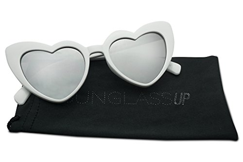 Oversized Lovestruck Round High Tip Heart Shaped Colored Mirror Lens Sunglasses (White Frame | - Shaped Oversized Sunglasses Heart
