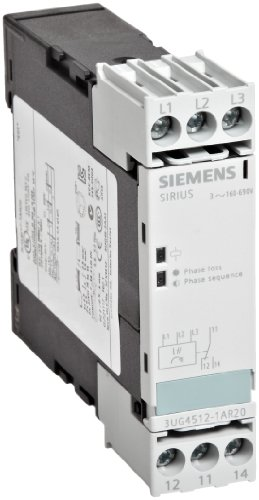 (Siemens 3UG4512-1AR20 Monitoring Relay, Three Phase Voltage, Insulation Monitoring, 22.5mm Width, Screw Terminal, 1 CO Contacts, Delay Time, 160-690 Line Supply Voltage)