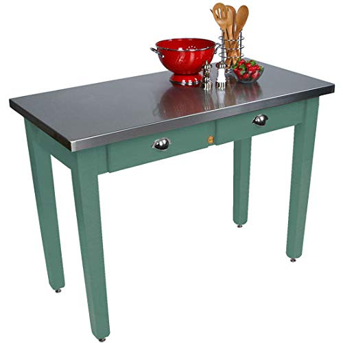 John Boos Cucina Milano Kitchen Island with Stainless Steel Top, 48W x 24D x 30 H, Basil