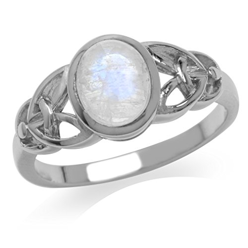 Natural Moonstone White Gold Plated 925 Sterling Silver Celtic Knot Ring Size 6 - Gold Plated Celtic Knot