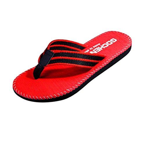 Inkach Heren Slippers Sandalen - Mode Zomer Sandalen Strand Slippers Glijden Op Casual Platte Schoenen Rood
