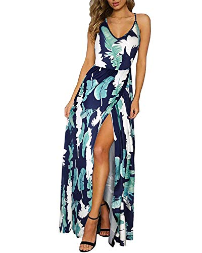 Back Sundress - Summer Dress for Women's Floral Adjustable Spaghetti Strap Tie Back Maxi Split Sundress M(US 6-8) Blue