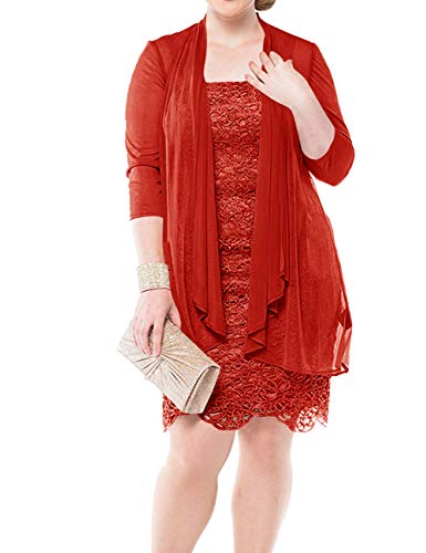 Mother of The Bride Dresses Lace Formal Gowns Short Evening Dresses Red 8