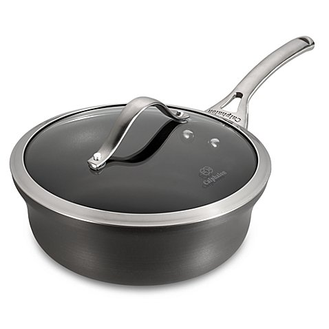 Calphalon® PFOA-Free Contemporary Nonstick Coating 2.5-Quart Covered Shallow Saucepan in Black, Dishwasher Safe For Easy Cleanup