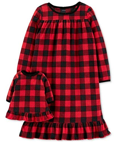 Carter's Toddler Girls 2-Pk. Buffalo-Check Nightgown & Doll Nightgown Set, Red , 5T  ()
