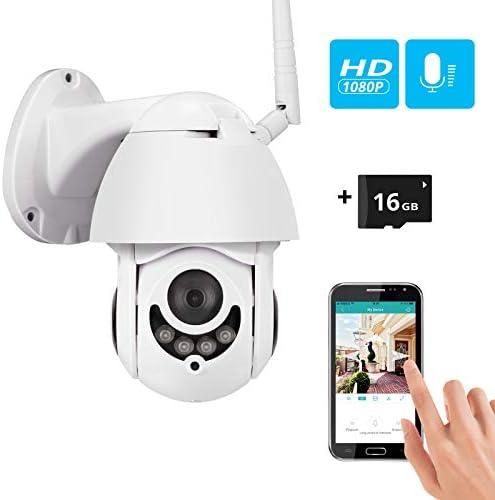 PTZ Security Camera, TongWoDe Waterproof Home WiFi IP IR Wireless Camera 1080P CCTV Surveillance Cameras JPEG Snapshot Function Outdoor Surveillance Cameras with 16G TF Card