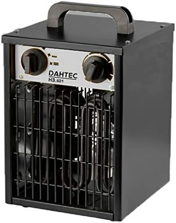 DAHTEC - H3.521 - Calefactor ventilador eléctrico 3kW 3000 Watt - 3 funciones ajustables, termostato ajustable, 230 V - para casa, taller, camping, garaje, jardín