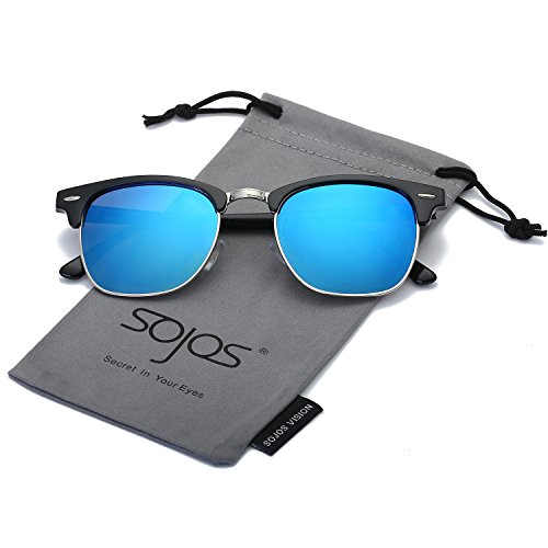 SojoS Clubmaster Semi Rimless Polarized Sunglasses Clear Lens Eyeglasses SJ5018 With Black Frame/Blue Mirrored Lens (Contact Lenses Sunglasses)