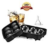Round Ice Cube Mold - Reusable Silicone Ice Sphere Mold for Whiskey BPA Free Easy to Fill and Clean-Black