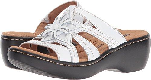 CLARKS Women's Delana Venna Platform, White Leather, 8.5 Medium US