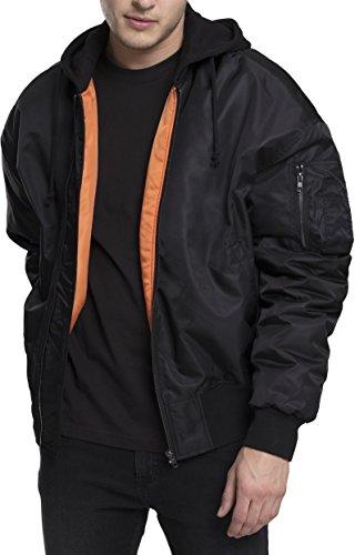 Hombre Blk Jacket Schwarz Urban Chaqueta Hooded Bomber Classics para Oversized 17 wq4467n0