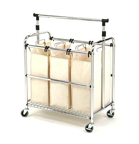 Seville Classics SHE16165 3-Bag Laundry Sorter Cart With ...