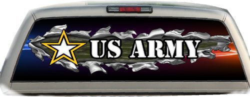 U.S. Army Ripped- 17 inches- by- 56 inches- Compact Pickup Truck- Rear Window Graphic-(PLEASE MEASURE YOUR WINDOW PRIOR TO ()