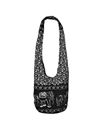 Thai Hippie Bag Elephant Sling Crossbody Bag Purse Thai Top Zip Handmade Black