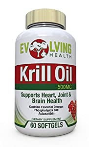 Krill Oil Omega 3 Supplement 500mg Softgels with EPA/DHA and Astaxanthin, for Brain, Joint, Memory and Heart Health, 60 Softgels