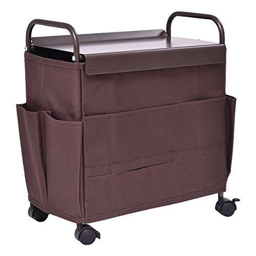 Rolling Cart 8 Pocket Storage Rack v Organizer Magazine TV Controller Coffee by Eramaix