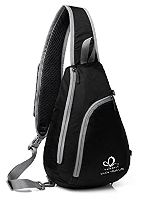 WATERFLY Sling Shoulder Backpacks Bags Crossbody Rope Triangle Pack Rucksack for Hiking or Multipurpose Daypacks and School Handbag for Man Women Girl