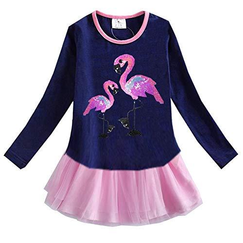 VIKITA Toddler Girl Long Sleeve Flamingo Blue Tutu Dress Baby Girls Winter Birthday (4T, LH4575) ()