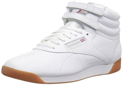 Reebok Women's Freestyle Hi Walking Shoe, White/Gum, 8 M US (Dark Gum Kids Shoes)