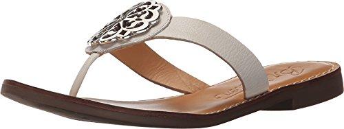 Brighton White & Silver Ferrara Alice Leather Thong Sandals (6M)