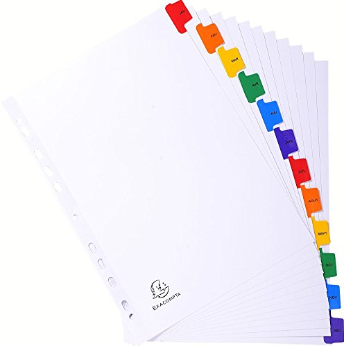 White January-December 12 Pre-Printed Tabs Exacompta A4 Indices