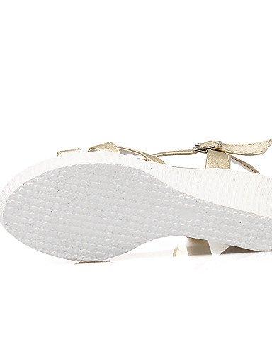 LFNLYX Zapatos de mujer-Tacón Cuña-Cuñas / Punta Abierta / Plataforma-Sandalias-Casual / Fiesta y Noche / Vestido-Semicuero-Blanco / Plata / Oro Silver
