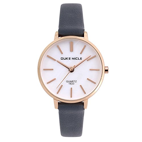 Womens Fashion Watch, Ladies Elegant Casual Waterproof Quartz Mother-of Pearl Dial Wrist Watches for Girls with Comfortable Genuine Leather Band (Casual Ladies Watch)