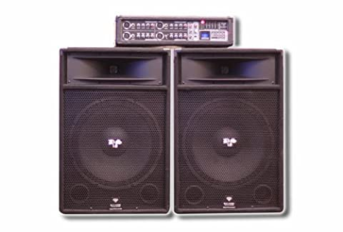 DS18 DS-AMPFU Two 15-Inch Passive Loudspeakers with 4-Channel 200-Watt RMS and 3,200-Watt Peak (Subwoofer And Amp 15)