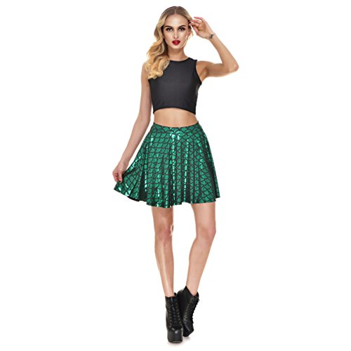 JEANSWSB Women Fish Scale Skirt - Shiny Mermaid Flared Pleated Skater Swing Mini Costume ()
