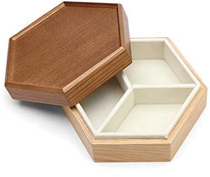 Giow Caja para Guardar Joyas Caja de Madera con Tapa Princesa Simple Collar de aretes de Alta Capacidad de múltiples Capas (Color: marrón-a, tamaño: 14.5x12.7x5.5cm): Amazon.es: Hogar