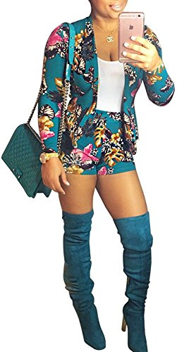 Evesymil Women Floral Print Long Sleeve Blazer Shorts Outfit Casual Two Pieces Suit Set Green Small