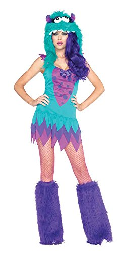 GTH Women's Fuzzy Frankie Furry Monster Theme Party Halloween Costume, X-Small (0-2) (Deluxe Frankie Mask)