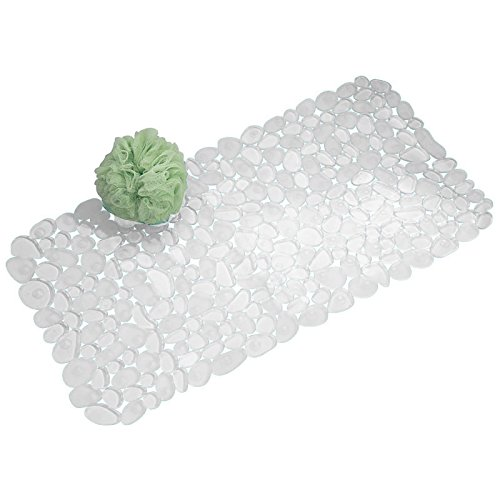 Pebble Mat (mDesign Pebble Non-Slip Suction Bath Mat for Shower, Bathtub - Clear)