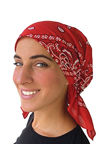 Classic Paisley Design Pre Tied Fitted Bandana Head Scarf (Red)