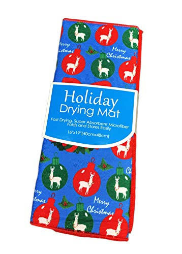 """Merry Christmas Festive Llamas in Red & Green Ornaments Holiday Dish Drying Mat 16"""" x 19"""""""