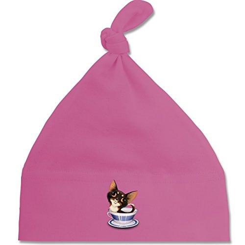 Tiermotive Baby - Teacup Chihuahua - Unisize - Pink - BZ15 - Baby Mütze mit einfachem Knoten / Bommel als Geschenkidee